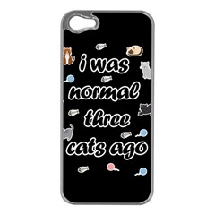 I Was Normal Three Cats Ago Apple Iphone 5 Case (silver) by Valentinaart