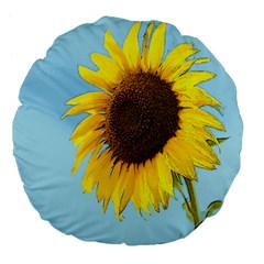 Sunflower Large 18  Premium Flano Round Cushions by Valentinaart