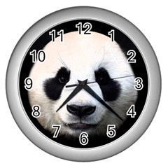 Panda Face Wall Clocks (silver)  by Valentinaart