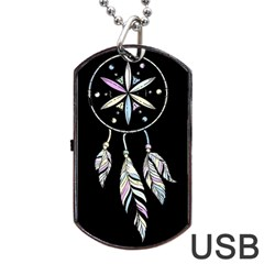 Dreamcatcher  Dog Tag Usb Flash (one Side) by Valentinaart