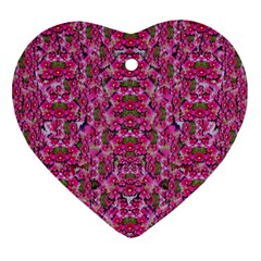 Fantasy Magnolia Tree In A Fantasy Landscape Heart Ornament (two Sides) by pepitasart