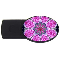 Fantasy Cherry Flower Mandala Pop Art Usb Flash Drive Oval (4 Gb) by pepitasart