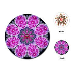 Fantasy Cherry Flower Mandala Pop Art Playing Cards (round)  by pepitasart