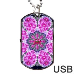 Fantasy Cherry Flower Mandala Pop Art Dog Tag Usb Flash (one Side) by pepitasart