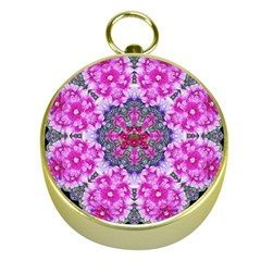 Fantasy Cherry Flower Mandala Pop Art Gold Compasses by pepitasart