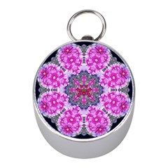 Fantasy Cherry Flower Mandala Pop Art Mini Silver Compasses by pepitasart