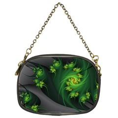Abstraction Embrace Fractal Flowers Gray Green Plant  Chain Purses (one Side)  by amphoto