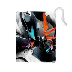 Lines Spray Brush Paint Color  Drawstring Pouches (large)
