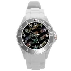 Birds With Nest Rainbow Round Plastic Sport Watch (l) by ssmccurdydesigns
