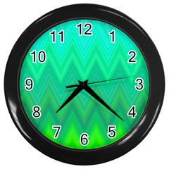 Zig Zag Chevron Classic Pattern Wall Clocks (black) by Nexatart