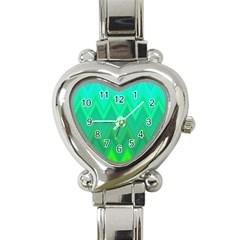 Zig Zag Chevron Classic Pattern Heart Italian Charm Watch by Nexatart