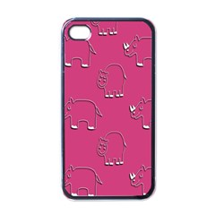 Rhino Pattern Wallpaper Vector Apple Iphone 4 Case (black)