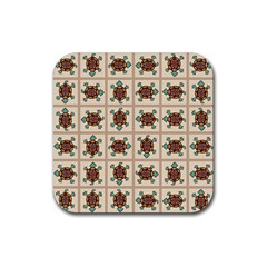 Native American Pattern Rubber Coaster (square)  by linceazul