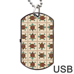 Native American Pattern Dog Tag Usb Flash (two Sides) by linceazul