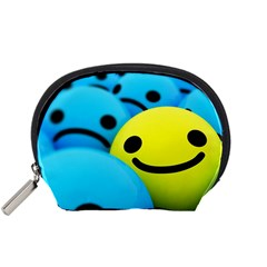Smile Blue Yellow Bright  Accessory Pouches (small)  by amphoto