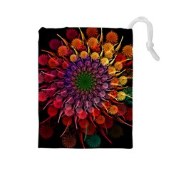 Rainbow Flower Spiral Fractal Drawstring Pouches (large)  by amphoto