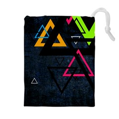Abstract Triangles Resize Drawstring Pouches (extra Large) by amphoto