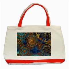 Abstract Pattern Gold And Blue Classic Tote Bag (red) by amphoto