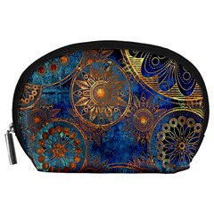 Abstract Pattern Gold And Blue Accessory Pouches (large)  by amphoto