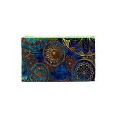 Abstract Pattern Gold And Blue Cosmetic Bag (xs) by amphoto