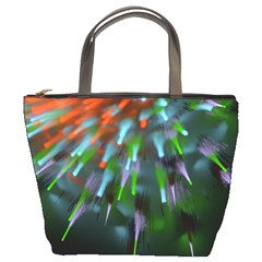 Explosion Rays Fractal Colorful Fibers Bucket Bags by amphoto