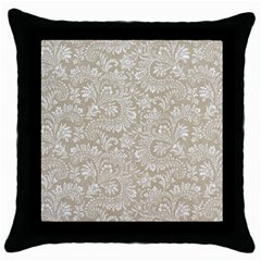 Floral Pattern Throw Pillow Case (black) by ValentinaDesign
