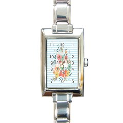 Watercolor Bouquet Floral White Rectangle Italian Charm Watch