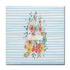 Watercolor Bouquet Floral White Tile Coasters