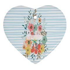 Watercolor Bouquet Floral White Ornament (heart)