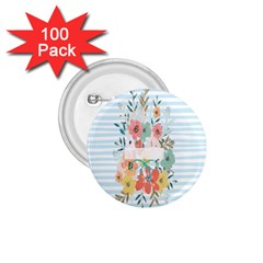 Watercolor Bouquet Floral White 1 75  Buttons (100 Pack)