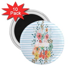 Watercolor Bouquet Floral White 2 25  Magnets (10 Pack)  by Nexatart