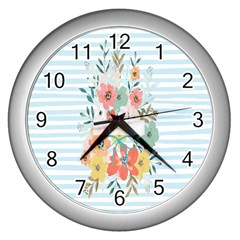 Watercolor Bouquet Floral White Wall Clocks (silver)  by Nexatart