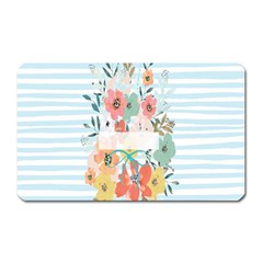 Watercolor Bouquet Floral White Magnet (rectangular)