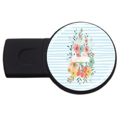 Watercolor Bouquet Floral White Usb Flash Drive Round (2 Gb)