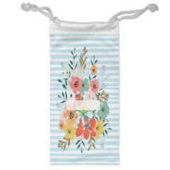 Watercolor Bouquet Floral White Jewelry Bag
