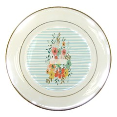 Watercolor Bouquet Floral White Porcelain Plates by Nexatart