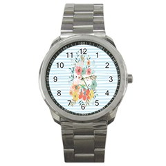 Watercolor Bouquet Floral White Sport Metal Watch by Nexatart