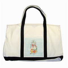 Watercolor Bouquet Floral White Two Tone Tote Bag