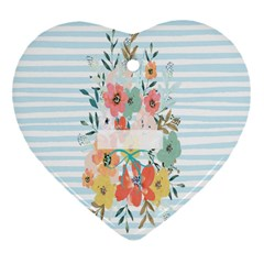 Watercolor Bouquet Floral White Heart Ornament (two Sides) by Nexatart