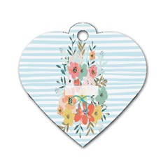 Watercolor Bouquet Floral White Dog Tag Heart (two Sides)