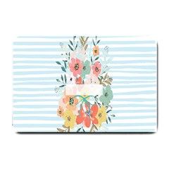 Watercolor Bouquet Floral White Small Doormat