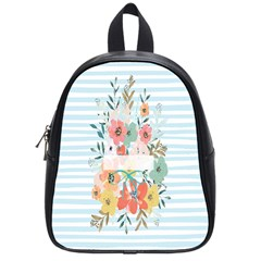 Watercolor Bouquet Floral White School Bag (small)
