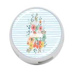 Watercolor Bouquet Floral White 4 Port Usb Hub (one Side)