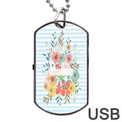 Watercolor Bouquet Floral White Dog Tag Usb Flash (two Sides) by Nexatart