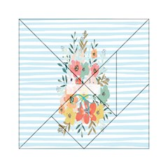 Watercolor Bouquet Floral White Acrylic Tangram Puzzle (6  X 6 )