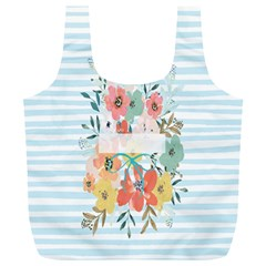 Watercolor Bouquet Floral White Full Print Recycle Bags (l)