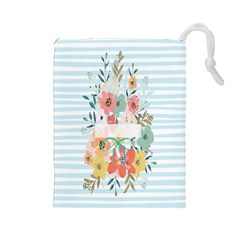 Watercolor Bouquet Floral White Drawstring Pouches (large)