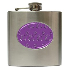 Pig Star Pattern Wallpaper Vector Hip Flask (6 Oz)