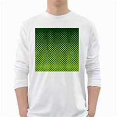 Halftone Circle Background Dot White Long Sleeve T Shirts