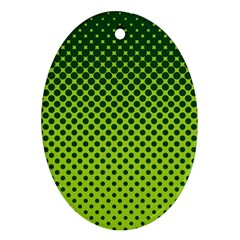 Halftone Circle Background Dot Oval Ornament (two Sides)